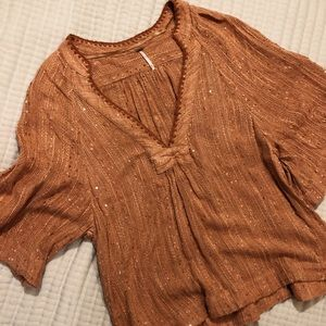 Free People Woven Knit Blouse